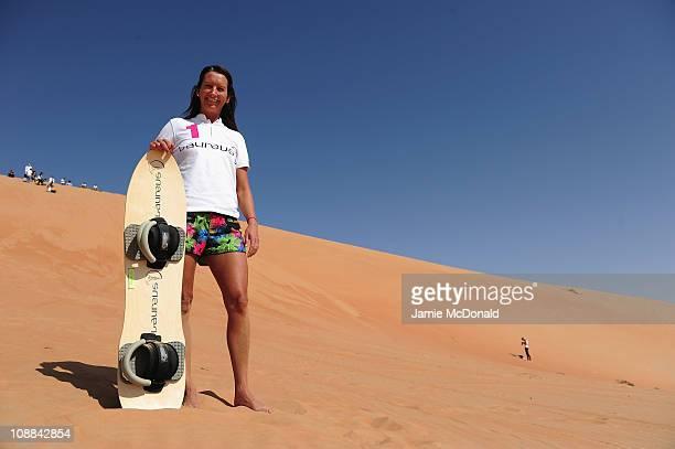 Laureus Ambassador Layne Beachley during the Laureus Sandboarding Experience as part of the 2011 Laureus World Sports Awards in Liwa DesertRub Al...