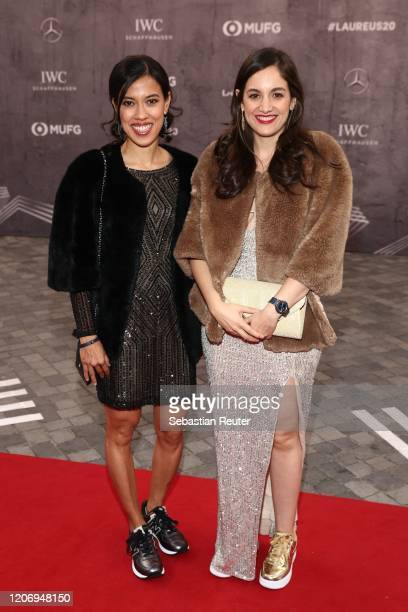 Laureus Ambassador Nicol David and guest attend the 2020 Laureus World Sports Awards at Verti Music Hall on February 17 2020 in Berlin Germany