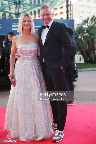 Laureus Ambassador Stefan Blöcher and guest arrive during the 2019 Laureus World Sports Awards on February 18 2019 in Monaco Monaco