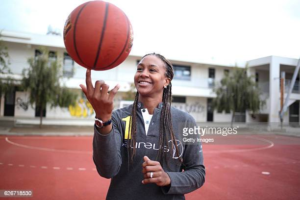 Laureus Ambassador Tamika Catchings during the visit to PeacePlayers of the IWC drawing competition on November 30 2016 in Nicosia Cyprus