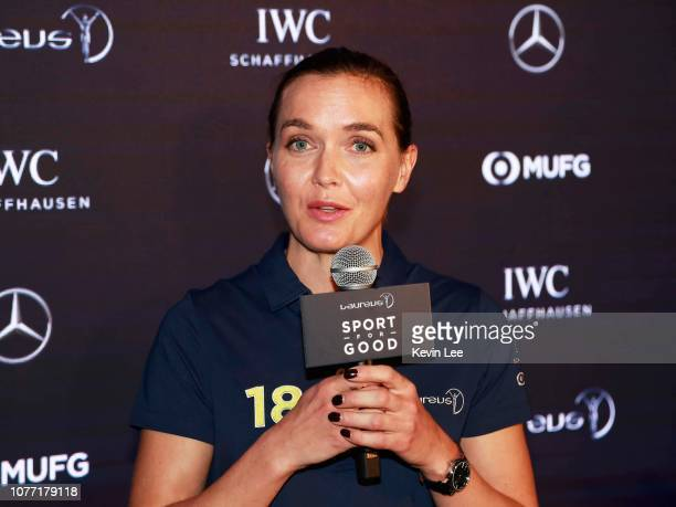 Laureus Ambassador Victoria Pendleton speaks during Hong Kong Ambassador Announcement ceremony at Mercedes Me Store on December 04 2018 in Hong Kong...