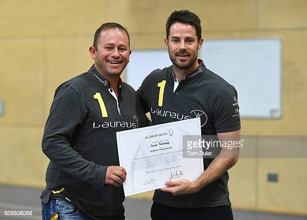 Laureus Ambassadors Dan Nicholl and Jamie Redknapp pose for photographs at Jamie Redknapp Laureus Ambassador announcement at the Urban Stars project...