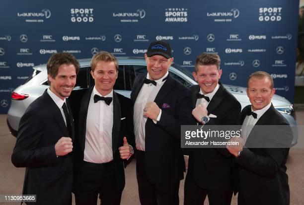 Laureus Ambassadors Felix GottwaldNico RosbergAxel SchulzThomas Morgenstern and Fabian Hambuchen arrive during the 2019 Laureus World Sports Awards...