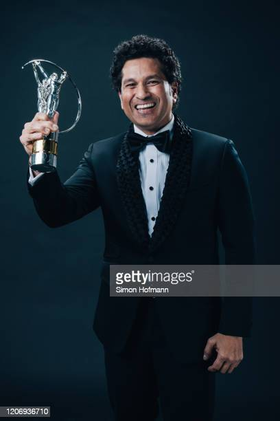 Laureus Best Sporting Moment winner Sachin Tendulkar poses with the trophy at the Verti Hall during the 2020 Laureus World Sports Awards on February...
