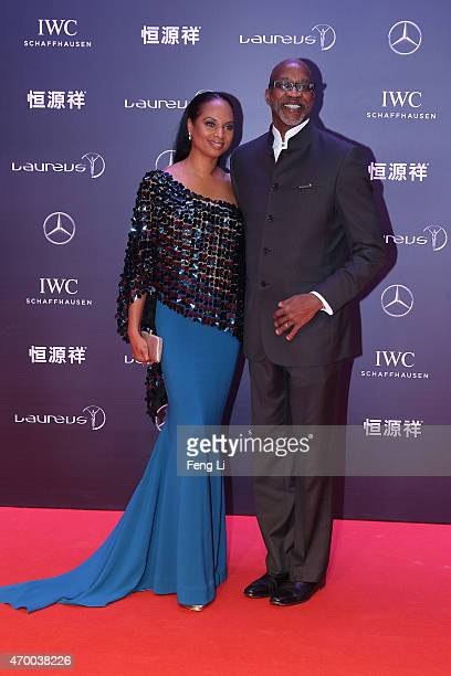 Laureus Chairman Edwin Moses and Michelle Moses attend the 2015 Laureus World Sports Awards at Shanghai Grand Theatre on April 15 2015 in Shanghai...