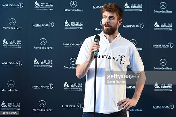 Laureus Foundation Ambassador FC Barcelona player Gerard Pique faces the media at the Institut Guttmann on April 9 2015 in Barcelona Spain