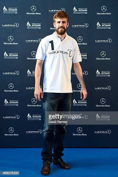 Laureus Foundation Ambassador FC Barcelona player Gerard Pique poses for a picture on April 9 2015 in Barcelona Spain