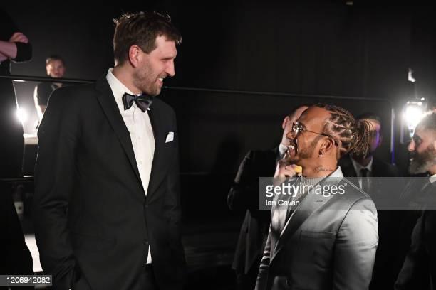 Laureus Lifetime Achievement Award winner Dirk Nowitzki and Laureus World Sportsman of the Year British F1 driver Lewis Hamilton during the 2020...