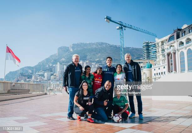 Laureus Members Boris Becker Cafu Arsene Wenger and Event Host James Marsden with Neeta Kumari Hema Kumari Konika Kumari Radha Kumari of the Yuwa...