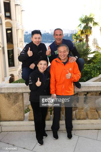 Laureus Sporting Moment of the Year 2019 nominee Xia Boyu poses with Laureus Academy Members Deng YapingMIke HornLi Xiaopeng on February 18 2019 in...
