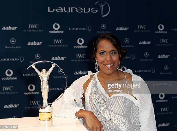 Laureus Sports Academy member Cathy Freeman arrives at the Laureus World Sports Awards 2010 at Emirates Palace Hotel on March 10 2010 in Abu Dhabi...