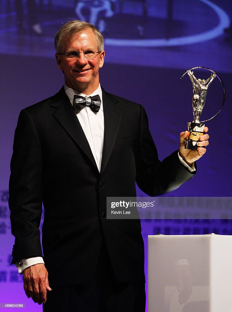Laureus World Action Sportsperson of the Year 2015 winner and Skydiver Alan Eustace of USA poses with his award at the winners press conference during the 2015 Laureus World Sports Awards at the Shanghai Grand Theatre on April 15, 2015 in Shanghai, China.