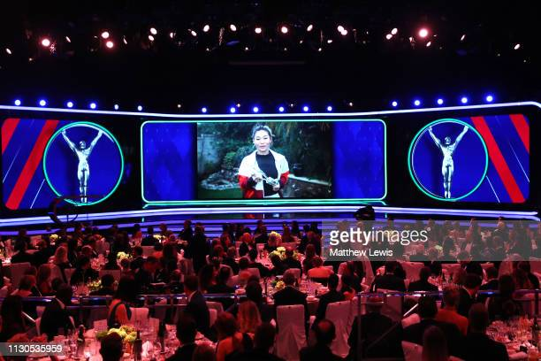 Laureus World Action Sportsperson Of The Year 2019 winner Chloe Kim accepts her award via video screen during the 2019 Laureus World Sports Awards on...
