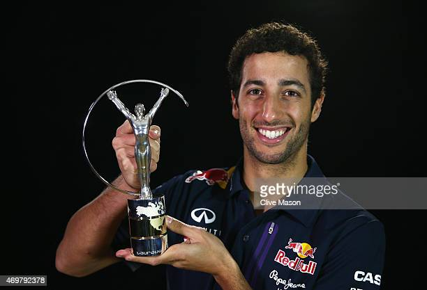 Laureus World Breakthrough of the Year 2015 winner and Formula 1 Motor Racing driver Daniel Ricciardo of Australia poses with his award on April 09...
