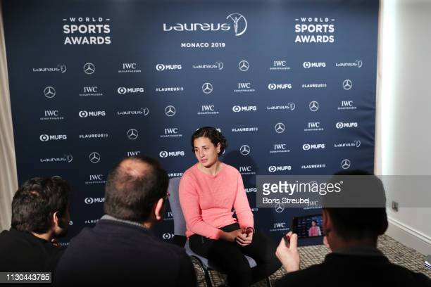 Laureus World Breakthrough of the Year 2019 nominee Ana Carrasco speaks during a media interview on February 18 2019 in Monaco Monaco