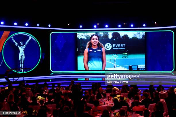 Laureus World Breakthrough of the Year 2019 winner Naomi Osaka accepts her award via video screen during the 2019 Laureus World Sports Awards on...