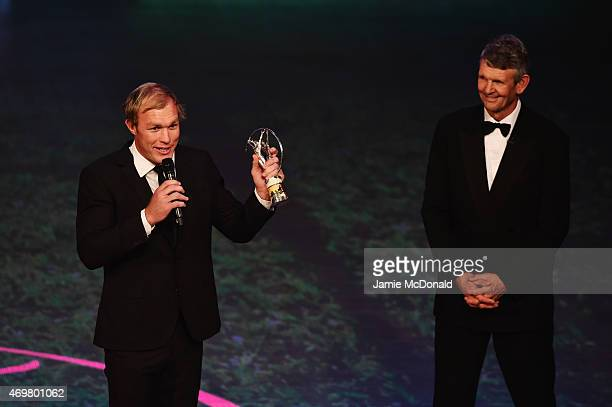 Laureus World Comeback of the Year 2015 winner and Rugby player Schalk Burger of South Africa with his award as Laureus World Sports Academy member...