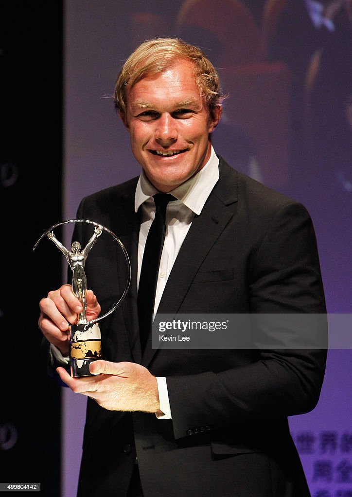 Laureus World Comeback of the Year 2015 winner and Rugby player Schalk Burger of South Africa poses with his award at the winners press conference during the 2015 Laureus World Sports Awards at the Shanghai Grand Theatre on April 15, 2015 in Shanghai, China.