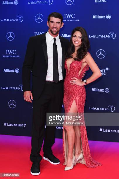 Laureus World Comeback of the Year nominee Swimmer Michael Phelps of the US and Nicole Phelps attend the 2017 Laureus World Sports Awards at the...