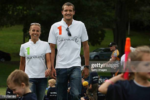 Laureus World Sports Academy Ambassador's and Olympic triathlon champions Emma Snowsill and Jan Frodeno are joined by Indigenous school children...