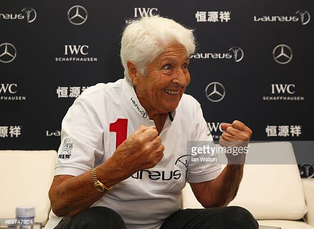 Laureus World Sports Academy member Dawn Fraser speaks during a media interview at the Shanghai Grand Theatre prior to the 2015 Laureus World Sports...