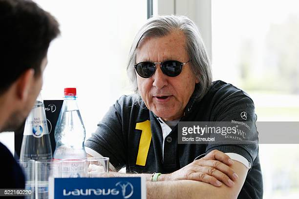 Laureus World Sports Academy member Ilie Nastase is interviewed prior to the 2016 Laureus World Sports Awards at Messe Berlin on April 18 2016 in...