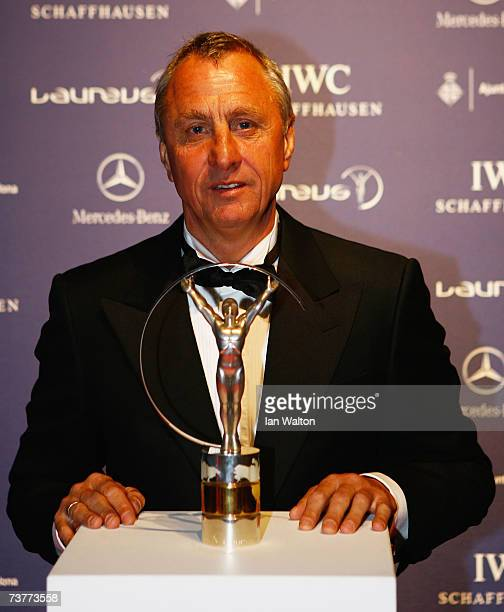 Laureus World Sports Academy member Johan Cruyff poses with an award as he attends the Laureus Sports Awards at the Palau Sant Jordi on April 2 2007...