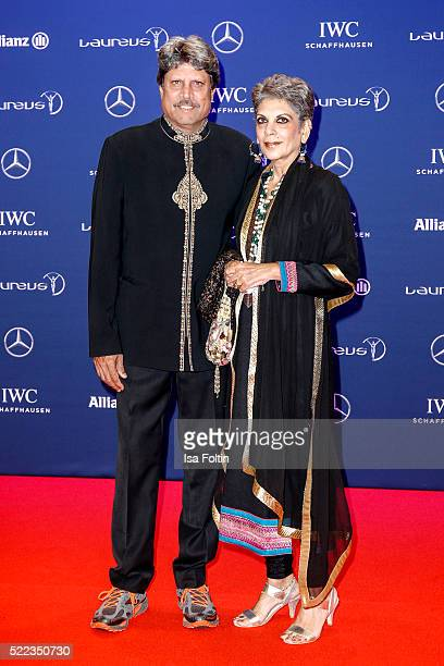 Laureus World Sports Academy member Kapil Dev and his wife Romi Dev attend the Laureus World Sports Awards 2016 on April 18 2016 in Berlin Germany