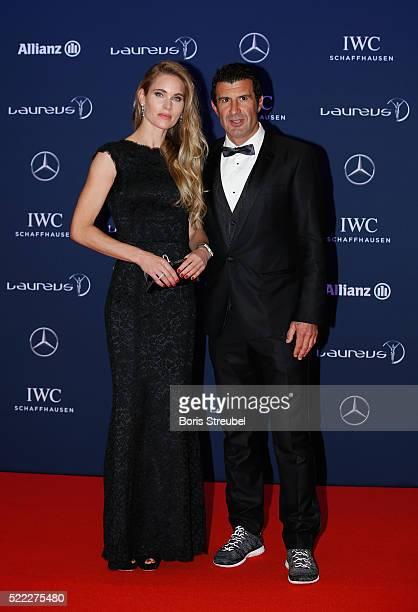 Laureus World Sports Academy member Luis Figo and guest attend the 2016 Laureus World Sports Awards at Messe Berlin on April 18 2016 in Berlin Germany