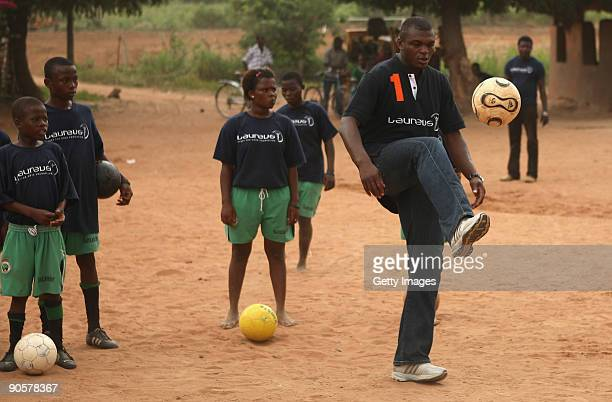 Laureus World Sports Academy member Marcel Desailly visit OrphanAid children's centre on September 10 2009 in Ayenyah Ghana Laureus World Sports...