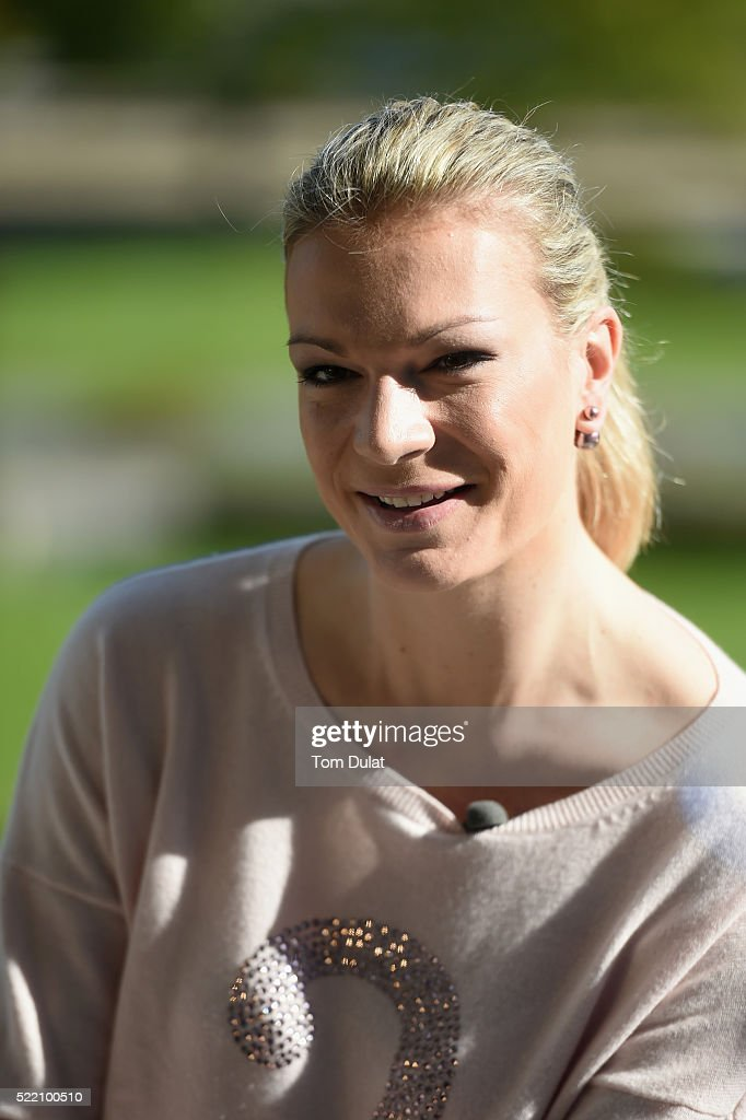 Laureus World Sports Academy member Maria Hoefl-Riesch of Germany is interviewed prior to the 2016 Laureus World Sports Awards at Messe Berlin on April 18, 2016 in Berlin, Germany.