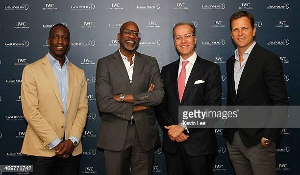Laureus World Sports Academy member Michael Johnson with Laureus Chairman Edwin Moses, Goris Verburg of IWC Schaffhausen and German men's national...