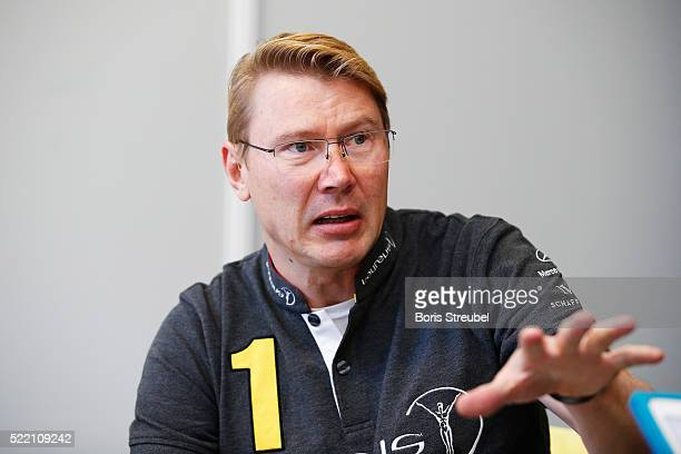 Laureus World Sports Academy member Mika Hakkinen is interviewed prior to the 2016 Laureus World Sports Awards at Messe Berlin on April 18 2016 in...