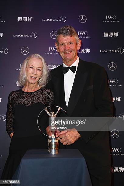 Laureus World Sports Academy member Morne du Plessis and guest attend the 2015 Laureus World Sports Awards at Shanghai Grand Theatre on April 15 2015...