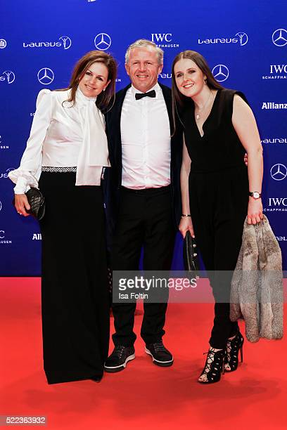 Laureus World Sports Academy member Sean Fitzpatrick with his wife Bronwyn Fitzpatrick and his daughter attend the Laureus World Sports Awards 2016...