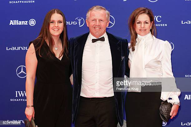 Laureus World Sports Academy member Sean Fitzpatrick with his wife Bronwyn Fitzpatrick and his daughter attends the Laureus World Sports Awards 2016...