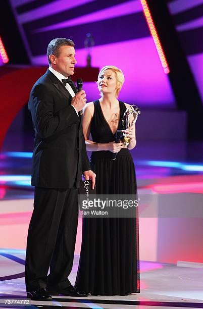Laureus World Sports Academy member Sergery Bubka and actress Elisha Cuthbert intoduce the Laureus World Sports Woman of the Year Award at the Palau...