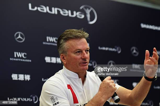 Laureus World Sports Academy member Steve Waugh during a media interview at the Shanghai Grand Theatre prior to the 2015 Laureus World Sports Awards...