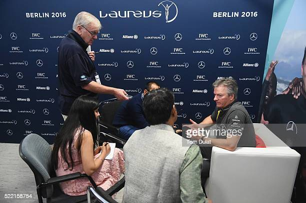 Laureus World Sports Academy member Steve Waugh is interviewed prior to the 2016 Laureus World Sports Awards at Messe Berlin on April 18 2016 in...