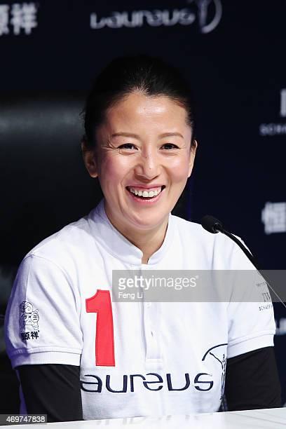 Laureus World Sports Academy member Yang Yang during a media interview at the Shanghai Grand Theatre prior to the 2015 Laureus World Sports Awards on...