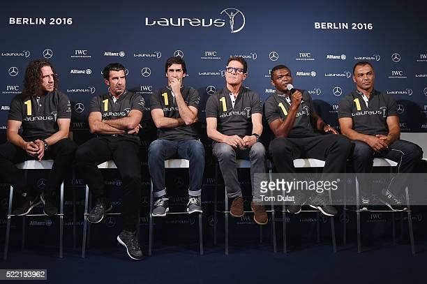 Laureus World Sports Academy members Carles PuyolLuis FigoRaul with Laureus Ambassador Fabio Capello and Laureus World Sports Academy members Marcel...