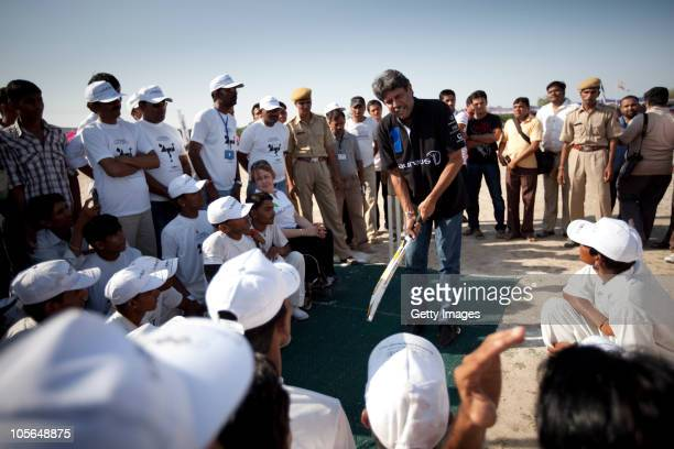 Laureus World Sports Academy members Kapil Dev and TanniGrey Thompson visit the Laureus supported project IMAGE during day one of the IndiAbility...