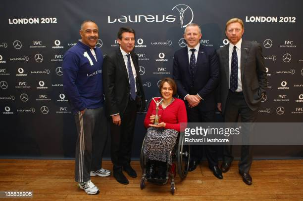 Laureus World Sports Academy Members Lord Sebastian Coe Sean Fitzpatrick Daley Thompson Boris Becker and Baroness Tanni GreyThompson announce the...