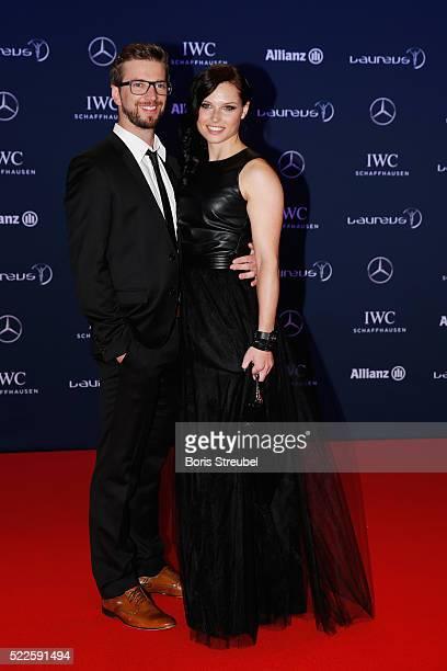 Laureus World Sports Ambassador Anna Fenninger and her husband Manuel Veith attend the 2016 Laureus World Sports Awards at Messe Berlin on April 18...