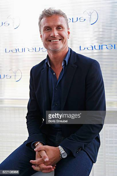 Laureus World Sports Ambassador David Coulthard is interviewed prior to the 2016 Laureus World Sports Awards at Messe Berlin on April 18, 2016 in...