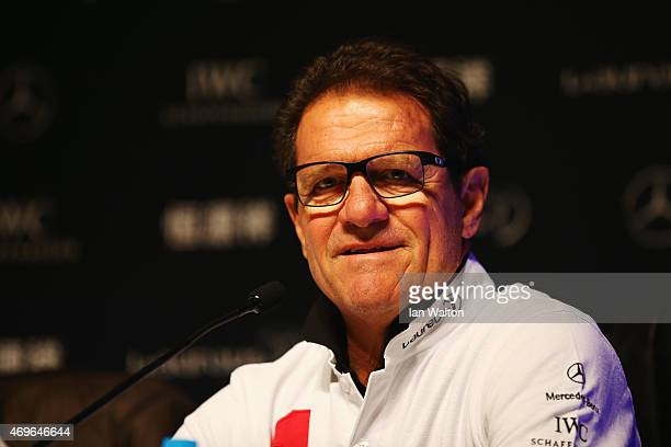 Laureus World Sports Ambassador Fabio Capello speaks during a Goals For The Future for Football debate at the Shanghai Grand Theatre prior to the...