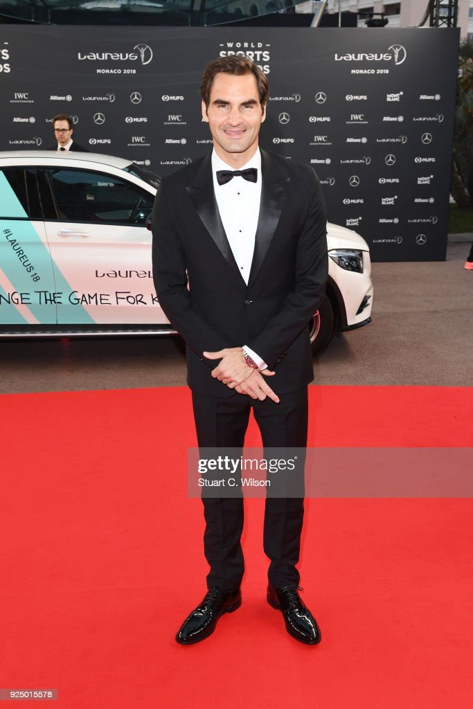Laureus World Sportsman and Comeback of the Year of the Year 2018 Nominee Tennis player Roger Federer attends the 2018 Laureus World Sports Awards at Salle des Etoiles, Sporting Monte-Carlo on February 27, 2018 in Monaco, Monaco.
