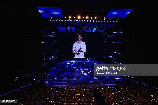 Laureus World Sportsman of the Year 2015 Novak Djokovic speaks on a video during the 2015 Laureus World Sports Awards show at the Shanghai Grand...