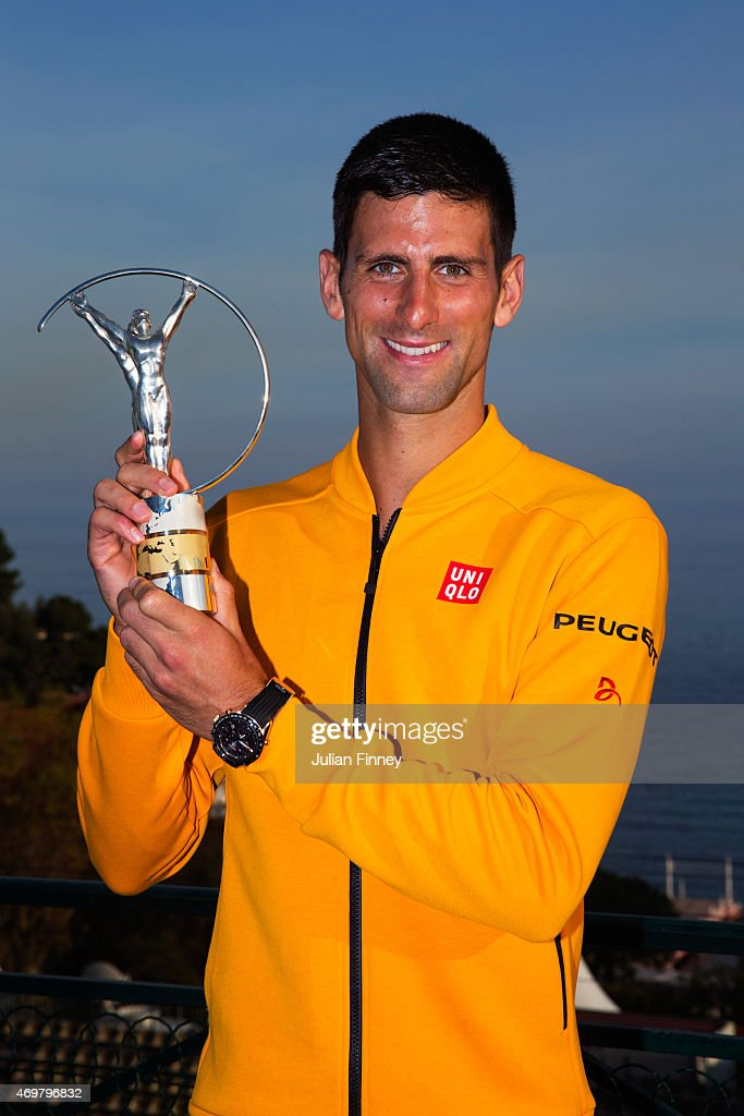 Laureus World Sportsman of the Year 2015 winner and Tennis player Novak Djokovic of Serbia poses with his award at the Monte-Carlo Sporting Club on April 14, 2015 in Monte-Carlo, Monaco.