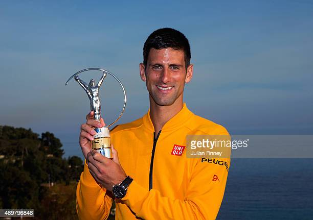 Laureus World Sportsman of the Year 2015 winner and Tennis player Novak Djokovic of Serbia poses with his award at the MonteCarlo Sporting Club on...